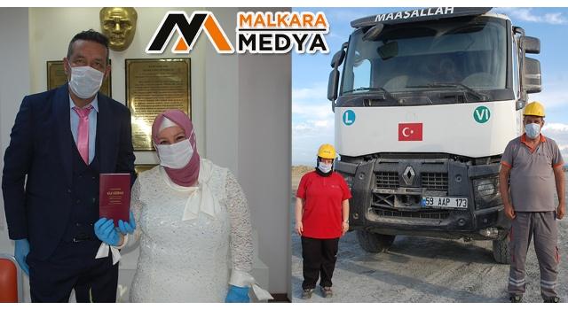Malkara'da maden ocağında tanışan çift evlendi