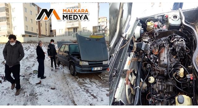 Malkara'da yanan otomobilini kumla söndürdü