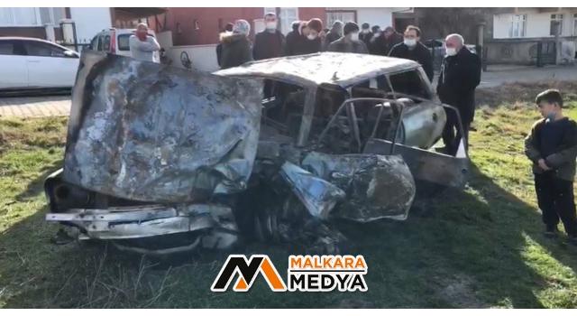 Tekirdağ'da feci kaza: Sıkıştığı otomobilde yanarak can verdi