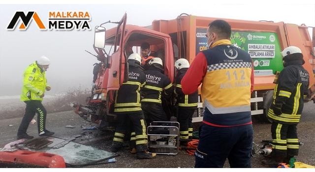 """Malkara'da 11 araç birbirine girdi: Sıkıştığı çöp kamyonunda """"Canım çok acıyor, çıkarın beni bu kamyondan"""" diye bağırdı"""