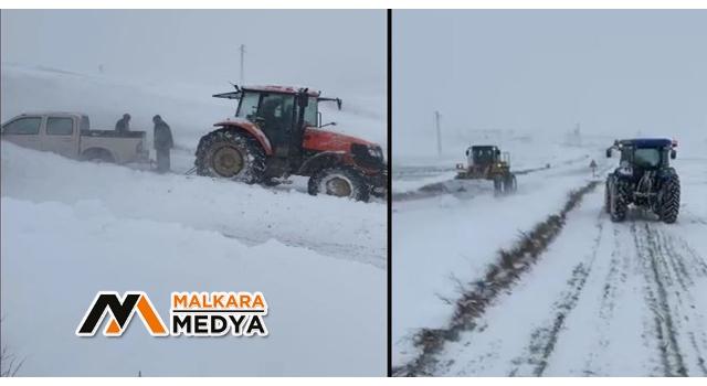 Malkara'da yarım metrelik karda mahsur kalan araçlar traktörle kurtarıldı