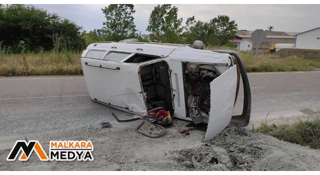 Malkara'da otomobil devrildi: 1 yaralı